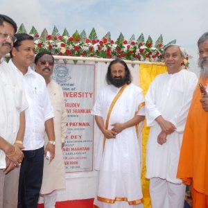 2008 : In 2008, the foundation stone for the University was laid by Sri Sri Ravi Shankar ji along with Shri Naveen Patnaik, Chief Minister, Odisha.