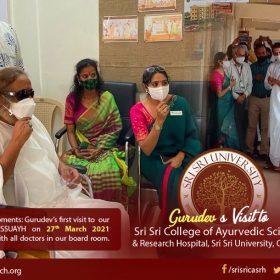 Our founder Poojya Gurudev Sri Sri Ravishankar Ji visited  @ssuayh  , Cuttack for the first time to meet the doctors and staff