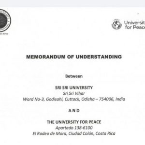 Sri Sri Advanced Global Centre for Conflict Resolution & Peace Studies has inked an MOU with the  @UPEACE  Costa Rica to impart holistic,value-integrated education to develop visionary thinkers who would amalgamate the ideology of Learn-Lead-Serve