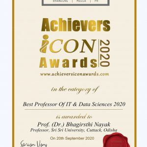 Prof.Dr.Bhagirathi Nayak- Best Professor of IT and DataScience 2020'in Achiever Icon Award