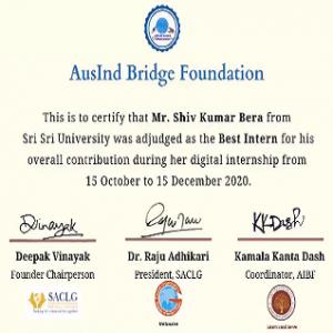 Mr. Shiv Kumar Bera - Awarded as the best internship projects from AusIndBridge Foundation