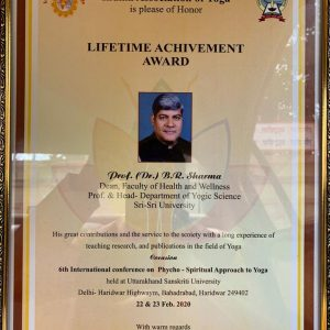 Dr. B. R. Sharma- Life Time Achievement award at 6th International Conference on Psycho-Spiritual Approach.